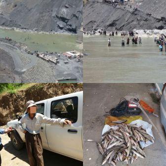 کشف و ظبط ماهی از شکارچیان رودخانه زاب سردشت