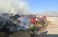 آتشسوزی انبار علوفه در روستای لج مهاباد